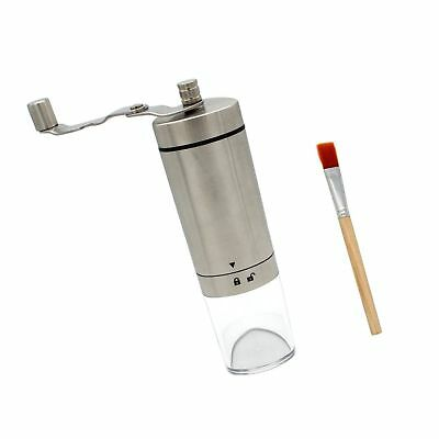 Upgrade - Manual Coffee Grinder, Portable Conical Burr Mill, Brushed Stainless
