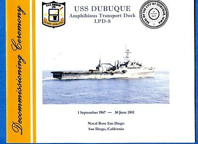 USS Dubuque LPD 8 Decommissioning Navy Ceremony Program with Invitation