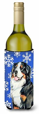 Bernese Mountain Dog Winter Snowflakes Holiday Wine Bottle Beverage Insulator Be