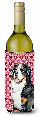 Bernese Mountain Dog Love  Valentine's Day Portrait Wine Bottle Beverage Insulat