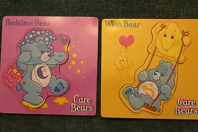 2 Care Bears Wooden Puzzles Wish Bear & Bedtime Bear.