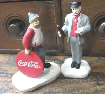 2 Coca Cola Town Square Collection 1987 Figures Christmas Conductor Sledder Coke