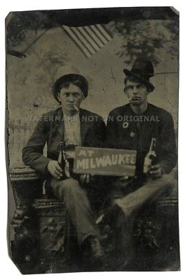 Tintype of Men Holding Milwaukee Wisconsin, WI ~ Beer Bottles with Paper Labels