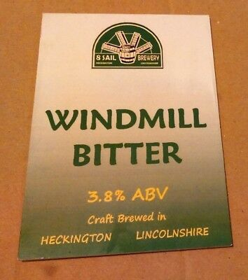 Beer pump clip badge front 8 SAIL brewery WINDMILL BITTER cask ale Lincs