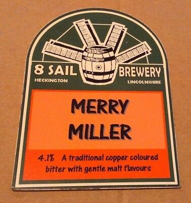 Beer pump clip badge front 8 SAIL brewery MERRY MILLER cask ale Lincolnshire