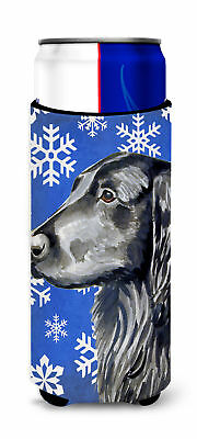 Flat Coated Retriever Winter Snowflakes Holiday Ultra Beverage Insulators for sl