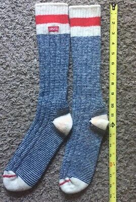 Vintage Levi's Jeans Stripe Socks Mens Womens Big E Single Stitch Wool Cotton