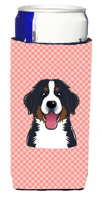 Checkerboard Pink Bernese Mountain Dog Ultra Beverage Insulators for slim cans