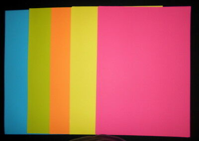 FLUORO COLOURED PAPER  A4 x 20  - 5 COLOURS - PERFECT FOR CARD INSERTS