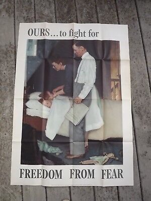 """1943 VINTAGE US WWII NORMAN ROCKWELL LARGE POSTER FREEDOM FROM FEAR 40 by 28"""""""
