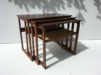 Danish Rosewood Nesting Side End Coffee Tables by Johannes Andersen Mid Century
