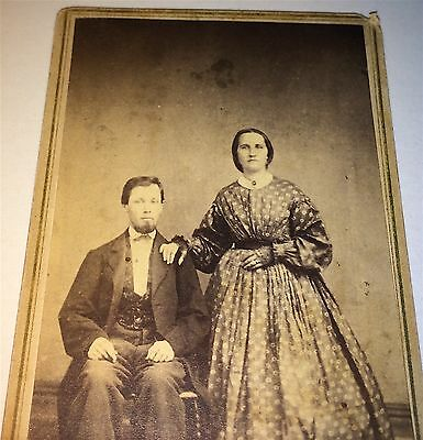 Antique Civil War Fancy American Couple Victorian Fashion Style Dress CDV Photo!