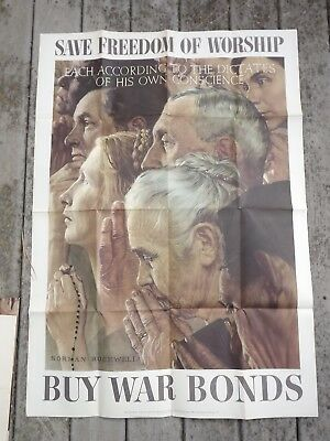 """1943 VINTAGE US WWII NORMAN ROCKWELL LARGE POSTER FREEDOM OF WORSHIP 40 by 28"""""""