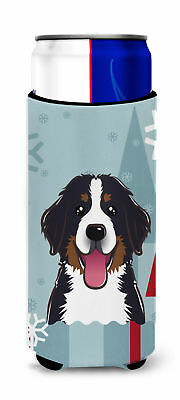 Winter Holiday Bernese Mountain Dog Ultra Beverage Insulators for slim cans