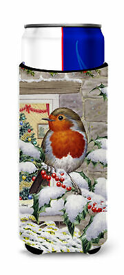 European Robin at the Window Ultra Beverage Insulators for slim cans