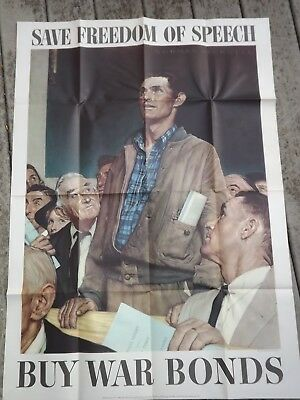 """1943 VINTAGE US WWII NORMAN ROCKWELL LARGE POSTER FREEDOM OF SPEECH 40 by 28"""""""