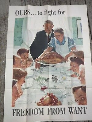 """1943 VINTAGE US WWII NORMAN ROCKWELL LARGE POSTER FREEDOM FROM WANT 40 by 28"""""""
