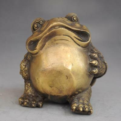 chinese old fengshui pure copper hand-carved Wealth  toad Statue d01