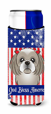 God Bless American Flag with Gray Silver Shih Tzu Michelob Ultra beverage Insula