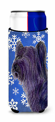 Skye Terrier Winter Snowflakes Holiday Ultra Beverage Insulators for slim cans