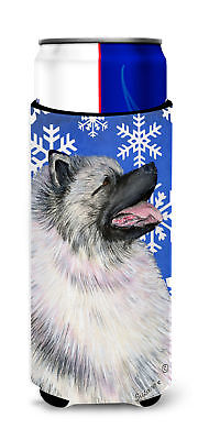 Keeshond Winter Snowflakes Holiday Ultra Beverage Insulators for slim cans