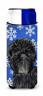 Affenpinscher Winter Snowflakes Holiday Ultra Beverage Insulators for slim cans