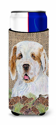 Clumber Spaniel on Faux Burlap with Pine Cones Ultra Beverage Insulators for sli