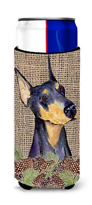 Doberman on Faux Burlap with Pine Cones Ultra Beverage Insulators for slim cans