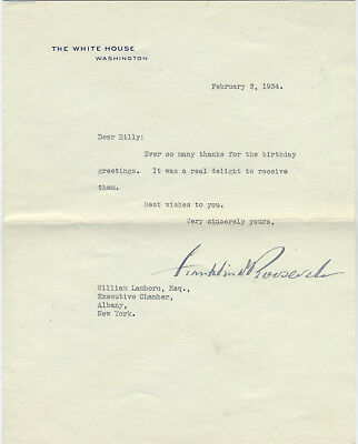 Franklin D. Roosevelt Signed Note On White House Stationary