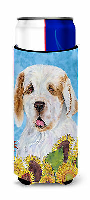 Clumber Spaniel in Summer Flowers Ultra Beverage Insulators for slim cans