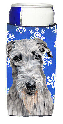 Scottish Deerhound Winter Snowflakes Ultra Beverage Insulators for slim cans