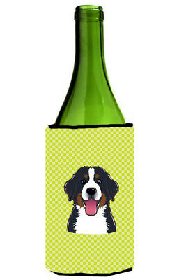 Checkerboard Lime Green Bernese Mountain Dog Wine Bottle Beverage Insulator Hugg