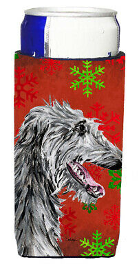 Scottish Deerhound Red Snowflakes Holiday Ultra Beverage Insulators for slim can