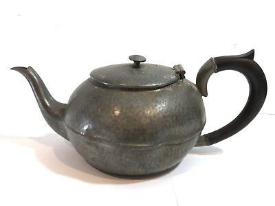 Antique Trade Civic Mark Pewter Teapot - Hand Beaten Hammered Design