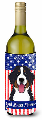God Bless American Flag with Bernese Mountain Dog Wine Bottle beverage Insulator
