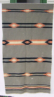 Vintage 30s Hand Woven Wool Rug SW Chimayo Native Indian Mexican 38x80 Signature