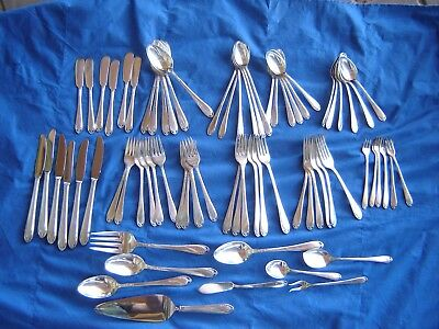 74 pc International 1847 Rogers Lovelace Silverplate Flatware Cutlery