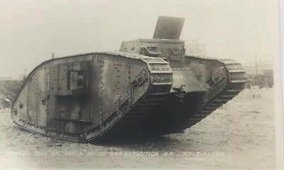 1918 Britannia Tank RPPC Allied War Expositon Military World War I