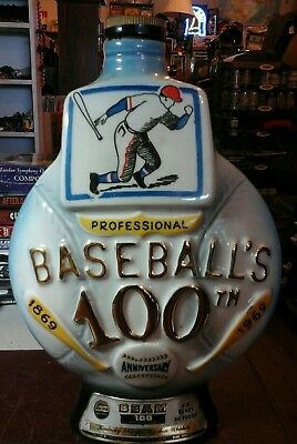 vintage jim beam baseballs 100th anniversary  decanter