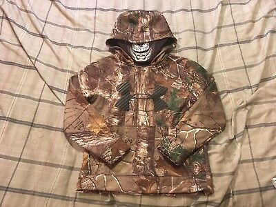 Under Armour Boys Camo Storm 1 Hoodie Sweatshirt Pullover Face Mask Youth Small