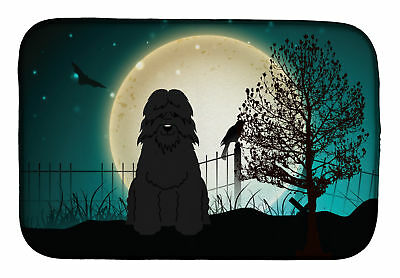 Halloween Scary Bouvier des Flandres Dish Drying Mat