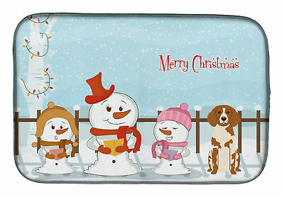 Merry Christmas Carolers Brittany Spaniel Dish Drying Mat