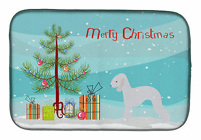 Bedlington Terrier Merry Christmas Tree Dish Drying Mat