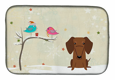 Christmas Presents between Friends Dachshund Red Brown Dish Drying Mat