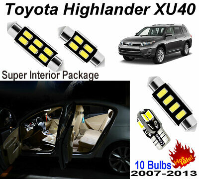 10Pcs HID White Interior Light Kit 5050 LED For 2007-2013 Toyota Highlander XU40