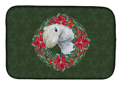 Carolines Treasures  CK1550DDM Sealyham Terrier Poinsetta Wreath Dish Drying Mat