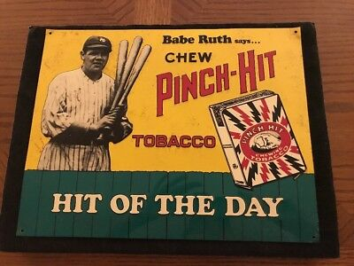 ~Babe Ruth~New York Yankees~ PINCH HIT CHEW~ Advertising Metal Sign~
