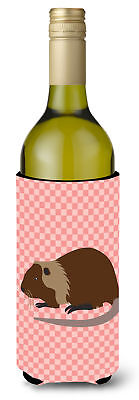 Coypu Nutria River Rat Pink Check Wine Bottle Beverge Insulator Hugger