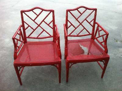 Pair Faux Bamboo Armchairs Chinese Chippendale Chairs