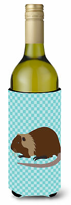 Coypu Nutria River Rat Blue Check Wine Bottle Beverge Insulator Hugger